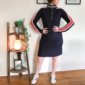 Striped Athletic Long Sleeve Sweater Dress